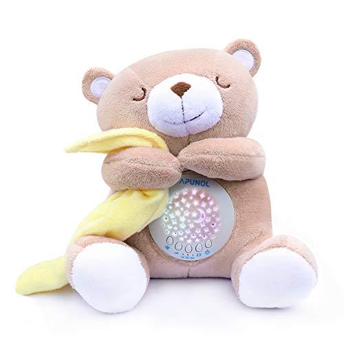 Apunol Einschlafhilfe Babys Musik, Nachtlicht Kinder Projektor Babyparty Geschenk Tragbare Spielzeug-Teddy mit Beruhigende Weißes Rauschen und Licht