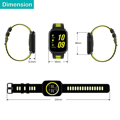 YAMAY Smartwatch Wasserdicht IP68 Smart Watch Uhr mit Pulsmesser Fitness Tracker Sport Uhr Fitness Uhr mit Schrittzähler,Schlaf-Monitor,Stoppuhr,Call SMS Benachrichtigung Push für Android und iOS - 8