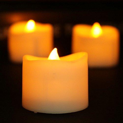 12pcs batteriebetriebene LED-Teelichter, flackerndes flammenloses Teelicht, elektrische flammenlose geführte Kerzen