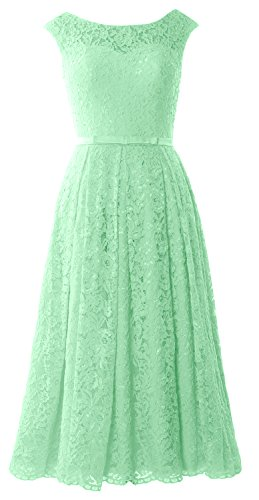 MACloth Caps Sleeve Lace Cocktail Dress Tea Length Wedding Party Formal Gown Minze