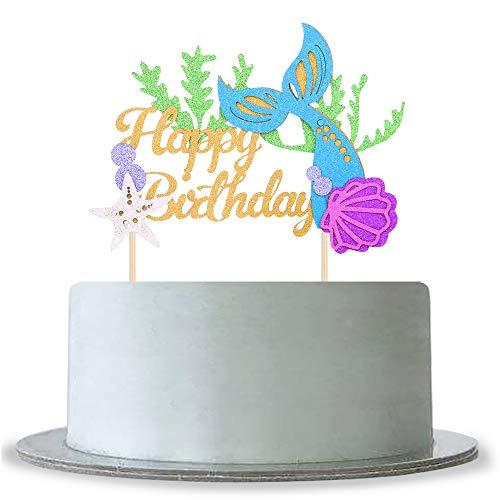 Glitzer-Tortenaufsatz für Babyparty für Mädchen und Jungen zum Geburtstag unter dem Meer, Meerjungfrau, Motto Party Jahrestag Dekoration Supplies