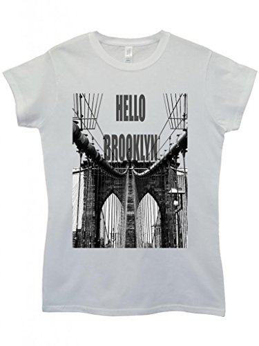 Hello Brooklyn New York Cool Funny Hipster Swag White Weiß Damen Women Top T-Shirt Weiß