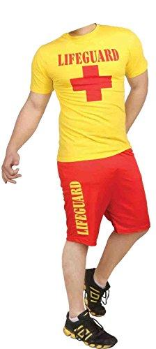 Herren Lifeguard T-shirt und Short Set Beach Bay Life Saver ()
