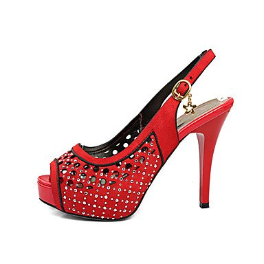LvYuan Damen-Sandalen-Büro Kleid Party & Festivität-Kunstleder-Blockabsatz-Komfort-Schwarz Gelb Rot Kaffee Red