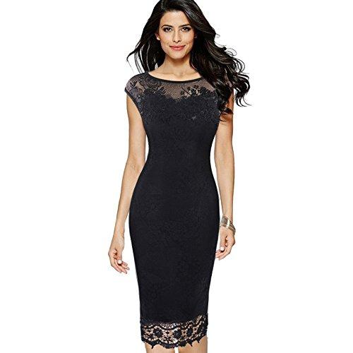 UO&Ciothes Frauen-Spitze-Stickerei-Kleid-Rock-reizvolles Bleistift-Rock-Kleid Black