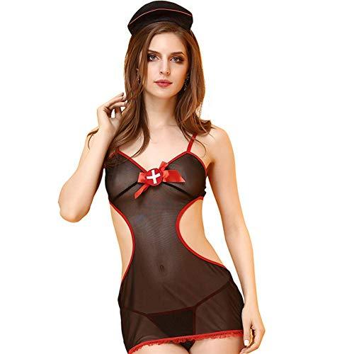G.N Damen Schwarz Spitze Dessous Erotik Lingerie Nachtwäsche Reizwäsche Reizvoller Cosplay Krankenschwester Kostüm (Mysterium Mann Kostüm)
