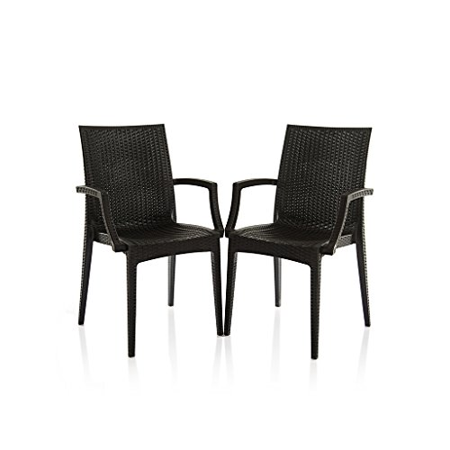 Varmora Designer Chair Set of 2 (Club Handle - Black)