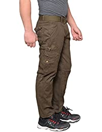 Krystle Men's Cotton Stylish Cargo Trouser Pant 6 Pocket Green