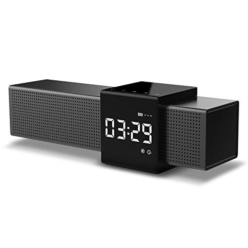 HAVIT Bluetooth Lautsprecher Box mit 10W Dual-Treiber Reinem Bass, 20 Stunden Spielzeit, FM Radio und Digitaler Wecker mit 2 Weckzeiten (Schwarz1)