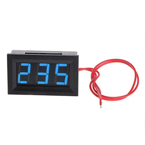 Qiulip 2 Draht 1,27 cm AC 30 V-500 V LED Digital Voltmeter Voltmeter Monitor Tester für 110 V 220 V 380 V blau -