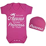 Step aside Aurora there's a new Princess in town Baby Vest and Hat Set Babygrow Bodysuit Baby Shower Gifts Novelty Sleeping Beauty inspired Princess clothing (6-12 Months)