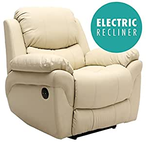 MADISON ELECTRIC LEATHER AUTOMATIC RECLINER ARMCHAIR SOFA HOME LOUNGE CHAIR (Cream)