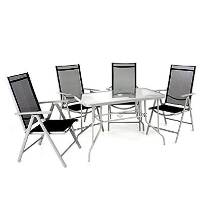 5er Set Sitzgarnitur Sitzgruppe Gartengarnitur Glastisch eckig schwarz Balkon 1 Tisch 4 Stühle wetterfest …