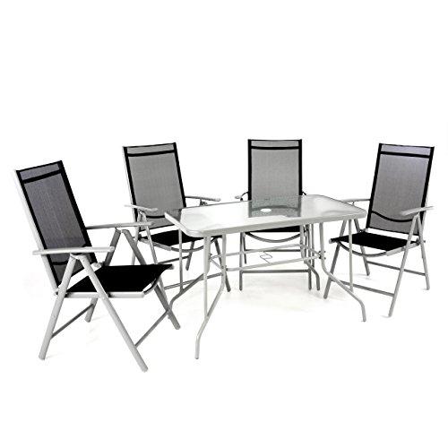 Nexos 5-teiliges Gartenmöbel-Set - Gartengarnitur Sitzgruppe Sitzgarnitur aus Klappstühlen & Esstisch - Stahl Alu Glas - Textilene schwarz/Rahmen grau