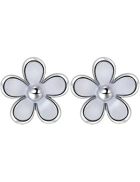 Damen Ohrringe Ohrstecker Mädchen 925 Sterling Silver Weiße Blumen von Taotaohas