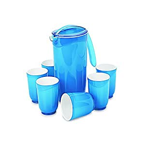 Cello Ceramica Round Appetizer Set, 7-Pieces, Blue
