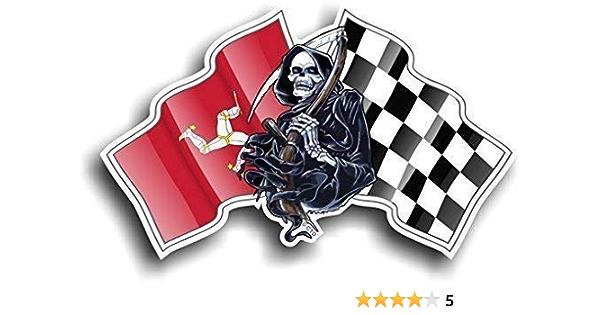 Death Grim Reaper Skull Design Mit Racing Isle Of Man Mann Manx Flagge Chequred Flagge Neuheit Auto Aufkleber Vinyl Aufkleber 130 X 80 Mm Auto