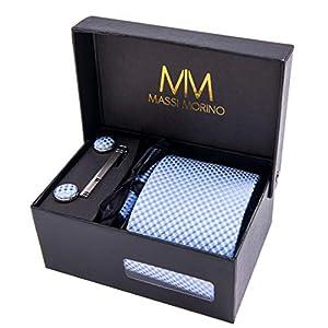 Massi Morino Hombre Designer Corbata – Caja Conjunto con pañuelo, Gemelos y Aguja de Corbata, Ropa y Accesorios de Hombre