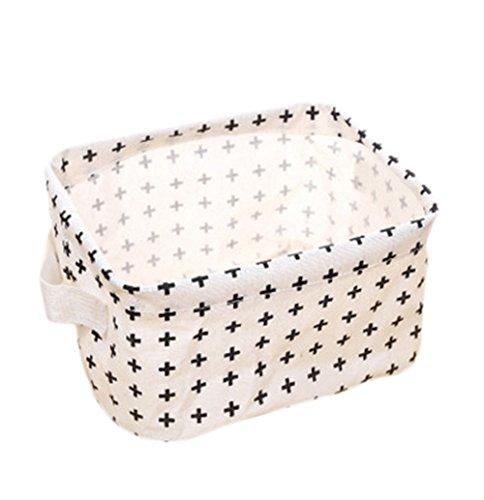 Oyfel Stoff Aufbewahrungsboxen Organizer Leinen Beutel mit Griffen Faltbare Korb für Dresser Verschiedenes Spielzeug Cosmetics weiß mit schwarzen Punkten, Croix, 20*17*12.5cm