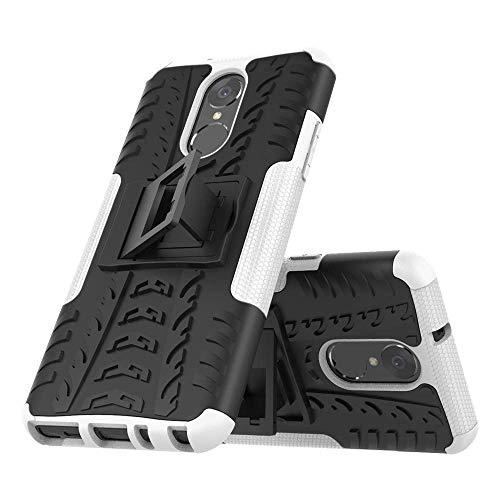 LVLUOYE Es Gilt für Q Stylo 4 6.2-Fall, Hybrid kühle Gummireifen Textur-Telefon-Kasten Stoß- Doppelter Schutz-Telefon-Kasten, Einbauschränke BracketGreen-Weiß