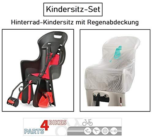 P4B Kindersitz-Set HR-Kindersitz in Schwarz/Rot mit 3-Punkt Sicherheitsgurt + Regenabdeckung