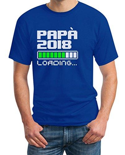 Papà 2018 loading - idea dolce regalo per futuro papà t-shirt maglietta uomo small blu