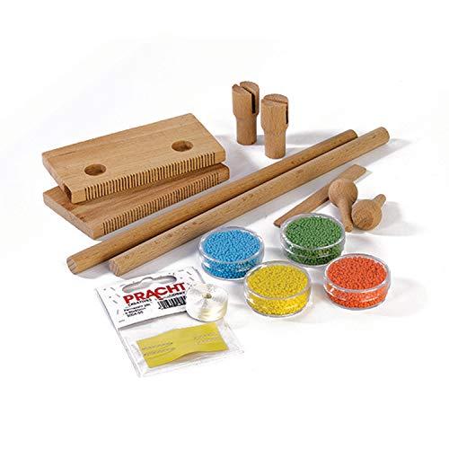 Pracht Creatives Hobby 3331-02 - Perlen - Webrahmen aus Holz, zum Perlenfädeln, zerlegt, mit Perlen (Rocailles), Nylonfaden, Nadel und Anleitung, zum Weben von Freundschaftsbändern und Armbändern