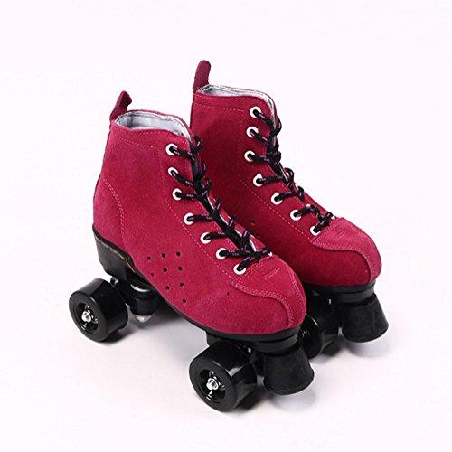 LBY Erwachsene Inline & Roller Skating Quad Skates Verstellbare Laufstiefel Unisex, Red, 43-44
