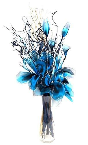 Blu netlon composizione di fiori organico fatto a mano indiano e erbe secche. in colore blu e bianco. circa 75cm di altezza.