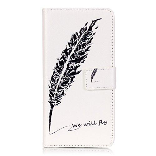LG K10 Leder Hülle + Frei Hartglas Displayschutzfolie, BoxTii® Schutzhülle Lederhülle Ledertasche mit Kartenfächern Magnetverschluss und Ständer Funktion für LG K10 (#4 Eiffelturm) #1 Feder
