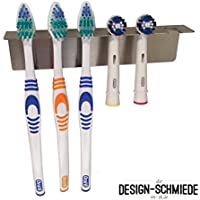 Zahnbürstenhalter aus Edelstahl auch für Aufsteckbürsten, Auswählbar ob für 2, 3, 4, 5, 6 oder 8 Bürsten