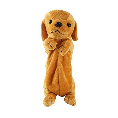 Federmäppchen, Cartoon Golden Retriever Hund geformt Plüsch Tier Bleistiftbeutel, Multifunktions-Make-up-Kosmetiktasche mit großer Kapazität (Gelb) Nützlich und praktisch