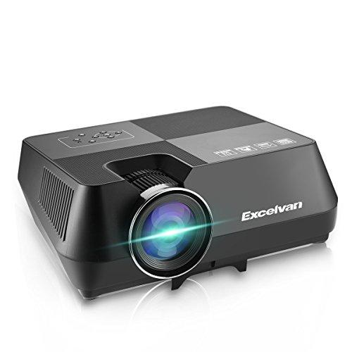 Excelvan Proyector, GT-S8 Proyector Portatil LCD 720p 1600 Lúmenes 2W Soporte HDMI USB TF AV VGA Home Cinema HD Proyector de Cine en Casa para TV/Smartphone/Ordenador/Laptop/Udisk y Cámara, Negro
