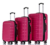 BEIBYE Zwillingsrollen 2088 Reisekoffer Koffer Trolleys Kofferset Reisekofferset Hartschale in 14 Farben(Peach)