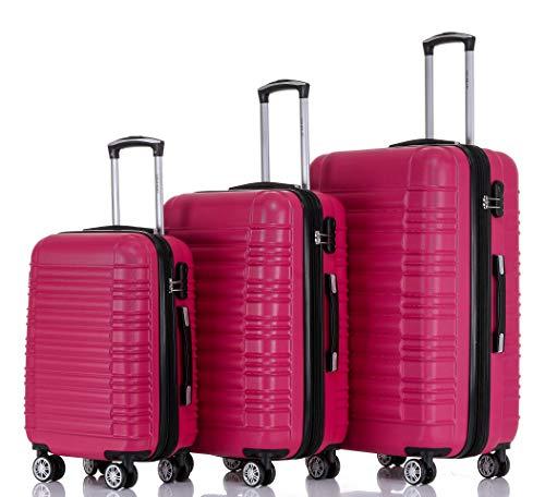 BEIBYE Zwillingsrollen Hardcase Reisekoffer Koffer Trolleys Hartschale in XL-L-M in 14 Farben (Peach, Set)