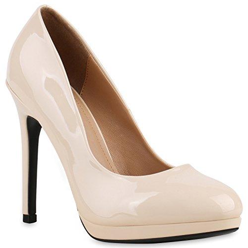 Damen Lack Pumps Stiletto High Heels Metallic Party Abend Plateau Plateau Pumps Schuhe 133520 Creme 38 Flandell