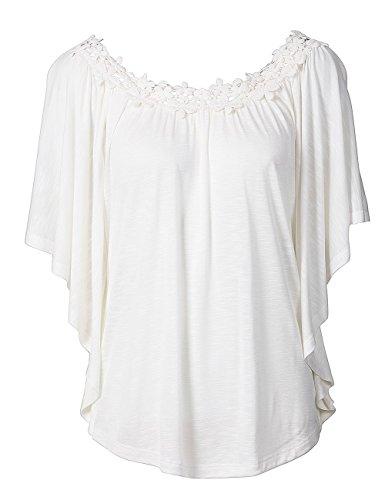 Hippie Dressup (Thinkmax Casual Damen Spitze Crochet rund Kragen Kurz Ärmel Baumwolle lose Bluse Tops Shirts Gr. S,)