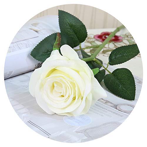 Small-shop Artificial flowers Künstliche Blumen für künstliche Seidenrosen rosa Blumenstrauß für Vasen Heimdekoration Weiß Kunstblumen Hochzeit Party Deko Weihnachten Zweige weiß