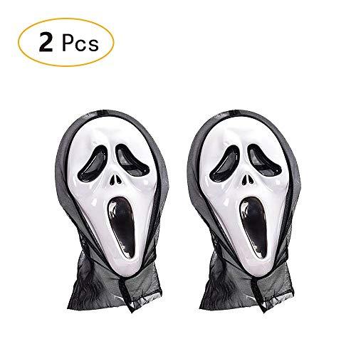 Halloween-Maske mit Kapuze, Schrei, Schrei, Gruselmaske, Totenkopf, Geist, Festival, Gesicht, Party, 2 Stück
