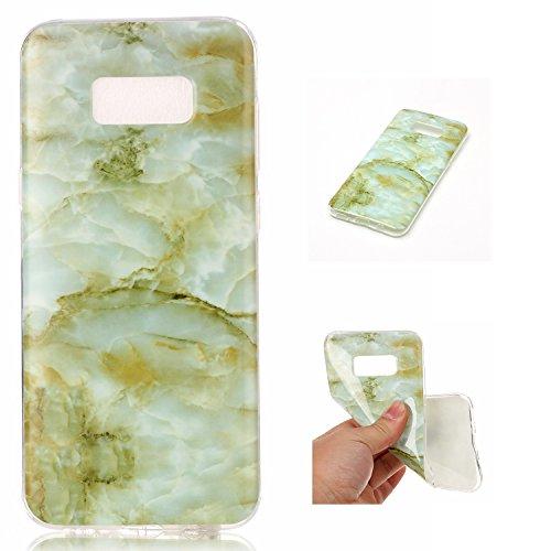 SsHhUu Funda Galaxy S8 Plus, Ultra Delgado [Patrón de Mármol] Flexible de Caucho Suave TPU Piel Caso Parachoques de Silicona Gel Anti-Rasguño Carcasa para Samsung Galaxy S8 Plus / S8+ (6.2') Verde