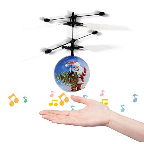 Vssictor Weihnachten weihnachtsmann Musik induktion Hubschrauber Ball Mini induktion Suspension Hand fliegen Spielzeug für Kinder Kinder -