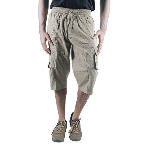 0-Degree Men Shorts 3by4 knee length Three Fourth Capri Men Chinos Cotton Bermuda 30 Beige [Apparel]