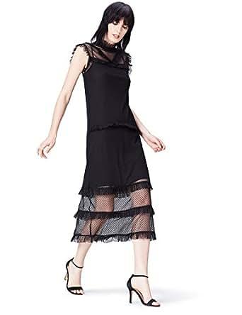 FIND Frill Detail Lace  Vestito Donna, Nero (Black), 40 (Taglia Produttore: X-Small)