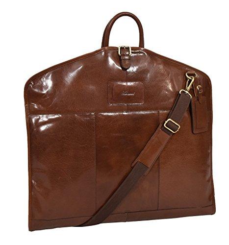 Luxus Leder Anzug Tragetasche Kastanie Suiter Case Kleid Kleiderabdeckung Reisetasche - Finley -
