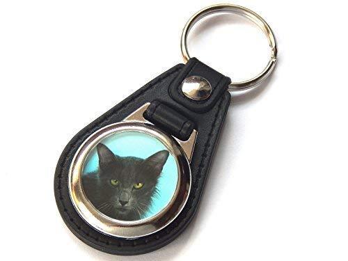 Moody Motorz Javanese Katze Kätzchen Qualitätsleder und Chrom Schlüsselring -
