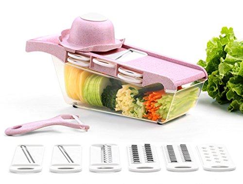 GUOYI Mandoline Multifunktion Gemüseschneider, Weizenstroh Aufschnittmaschine Küche Handbuch Cutter Reißwolf Julienne(Rosa)
