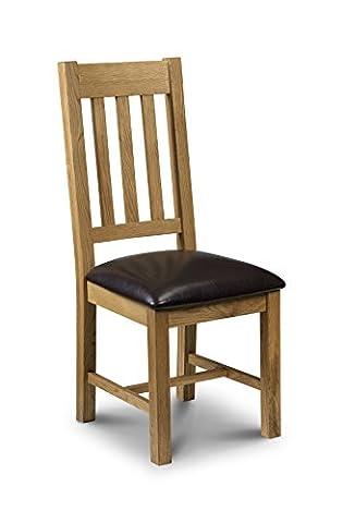 Julian Bowen Light Astoria Oak Dining Chairs, Waxed Oak/Brown Faux