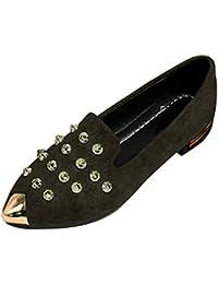 2518a4ba4eddf Gtagain Mujer Sexy Puntiagudo Remache Solos Zapatos - Verano Moda  Antideslizante Casuales Planos de Tobillo Barco