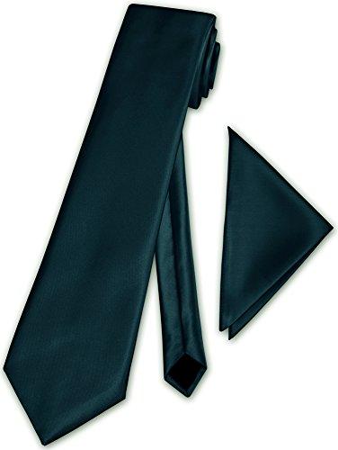 Herren Krawatte klassisch mit Einstecktuch Klassik Anzug Satinkrawatte - 30 Farben (Petrol)
