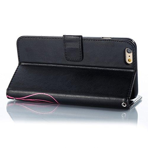 Case MAGQI iPhone 6 Plus/6S Plus 5.5 Custodia,Morbido Durevole Portafoglio in Pelle PU Premium Rosa Farfalla Embossed Fiore Modello Copertina Basamento del Telefono Flip Stile Libro Copertura Protetti Nero
